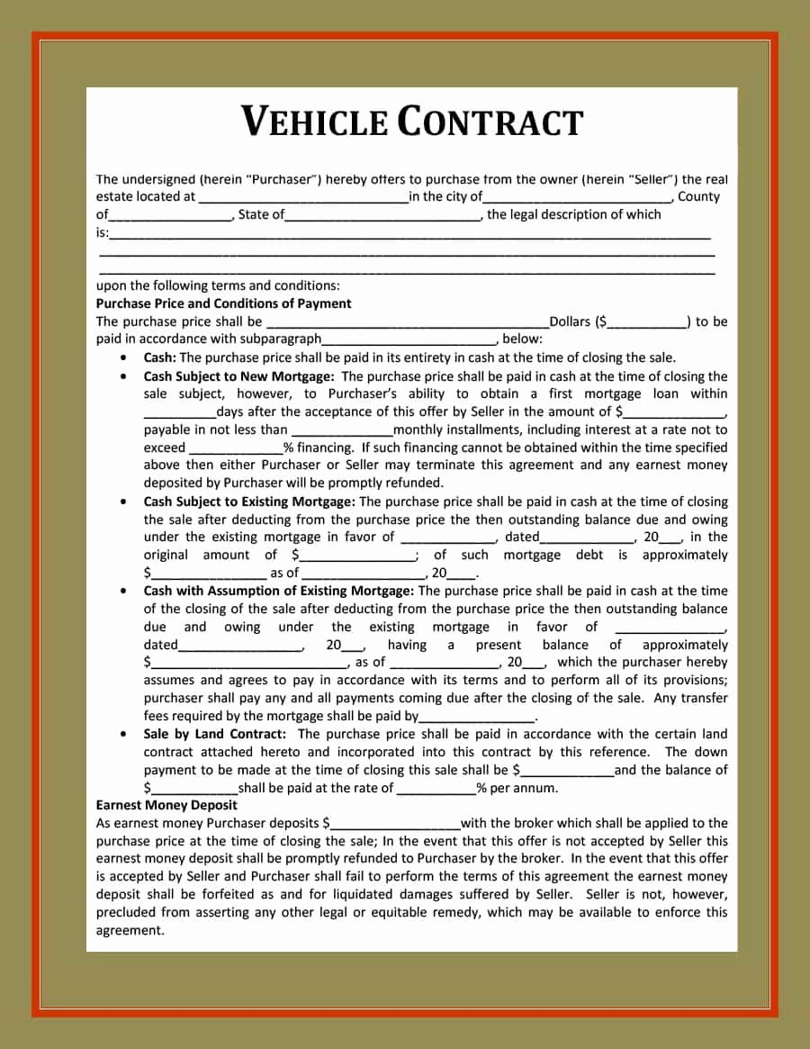 Car Purchase Agreement Template Luxury 42 Printable Vehicle Purchase Agreement Templates