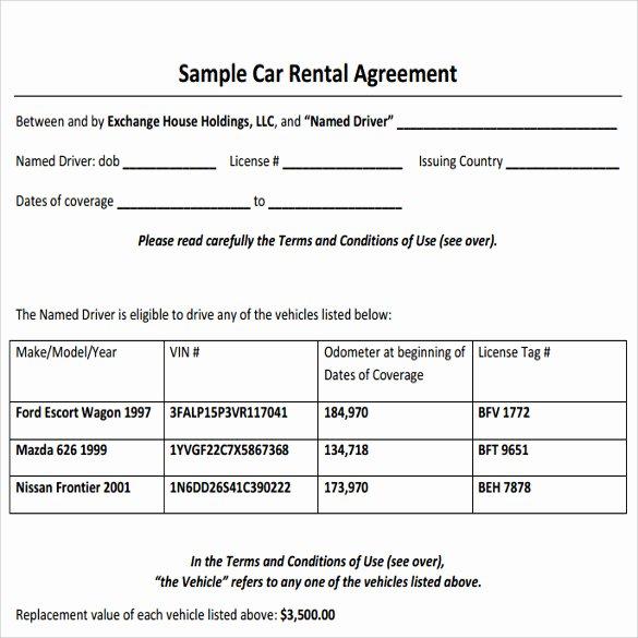 Car Rental Agreement Template Beautiful Sample Car Rental Agreement 12 Documents In Pdf Word