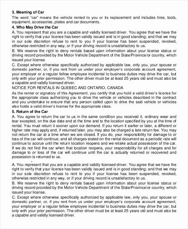 Car Rental Agreement Template Elegant Car Rental Agreement 12 Free Word Pdf Documents