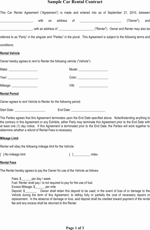 Car Rental Agreement Template Elegant Download Contract Templates for Free formtemplate