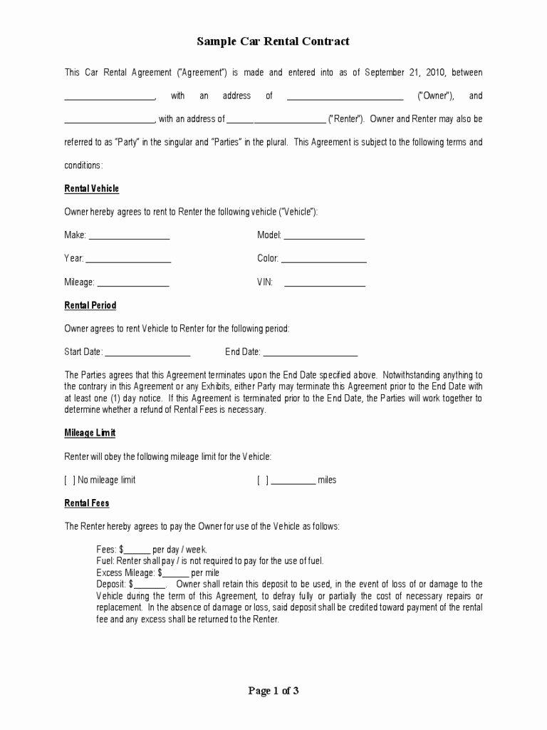 Car Rental Agreement Template Elegant Sample Vehicle Lease Agreement Pdf Useful Car Rental form