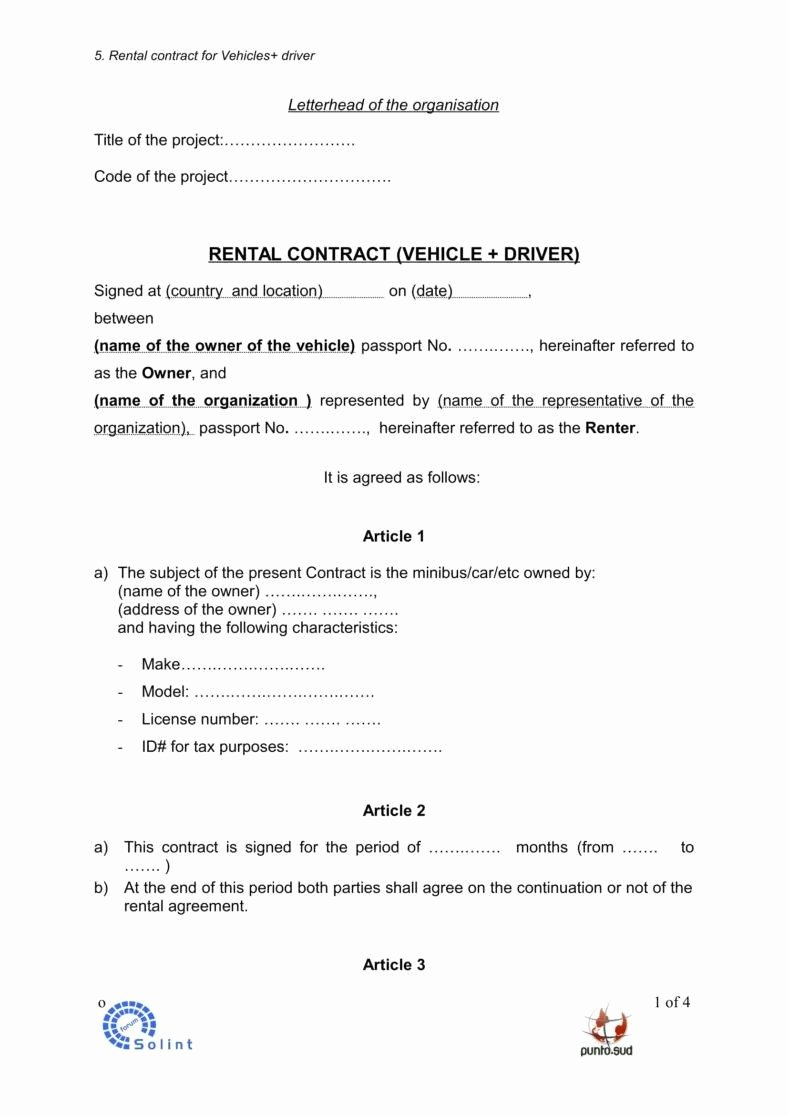Car Rental Agreement Template Fresh 5 Car Rental Agreement Templates In Word