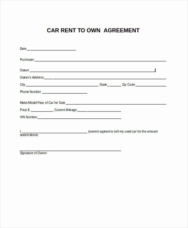 Car Rental Agreement Template Fresh 8 Rent to Own Contract Samples & Templates Pdf Google Docs