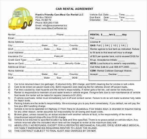 Car Rental Agreement Template Fresh Car Rental Agreement 12 Free Word Pdf Documents