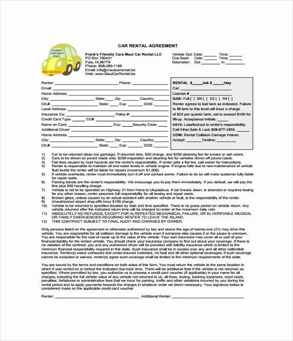 Car Rental Agreement Template Inspirational 11 Rental Agreement Templates Free Word Pdf Documents