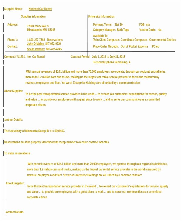 Car Rental Agreement Template Lovely Car Rental Agreement 12 Free Word Pdf Documents