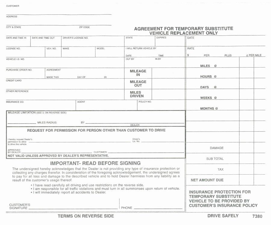 Car Rental Agreement Template Lovely Loaner Car Agreement