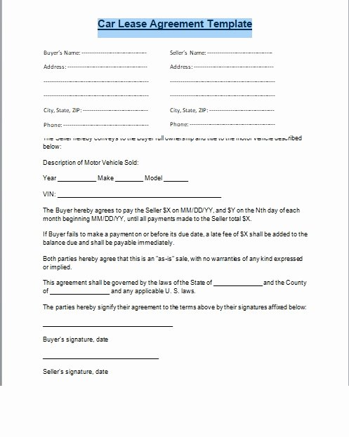 Car Rental Agreement Template Unique Car Lease Agreement format Word and Pdf Excel Tmp