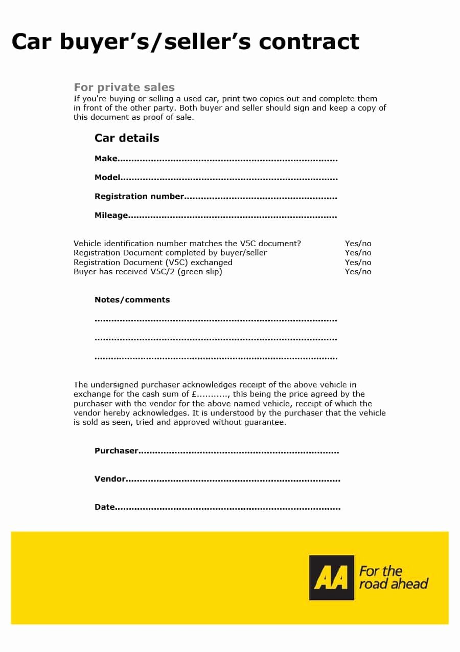Car Sale Contract Template Awesome 42 Printable Vehicle Purchase Agreement Templates
