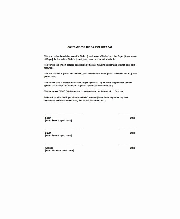 Car Sale Contract Template Elegant 11 for Sale by Owner Contract Examples Word Docs