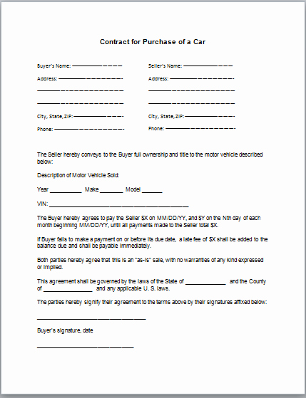 Car Sale Contract Template Elegant Car Purchase Contract Template