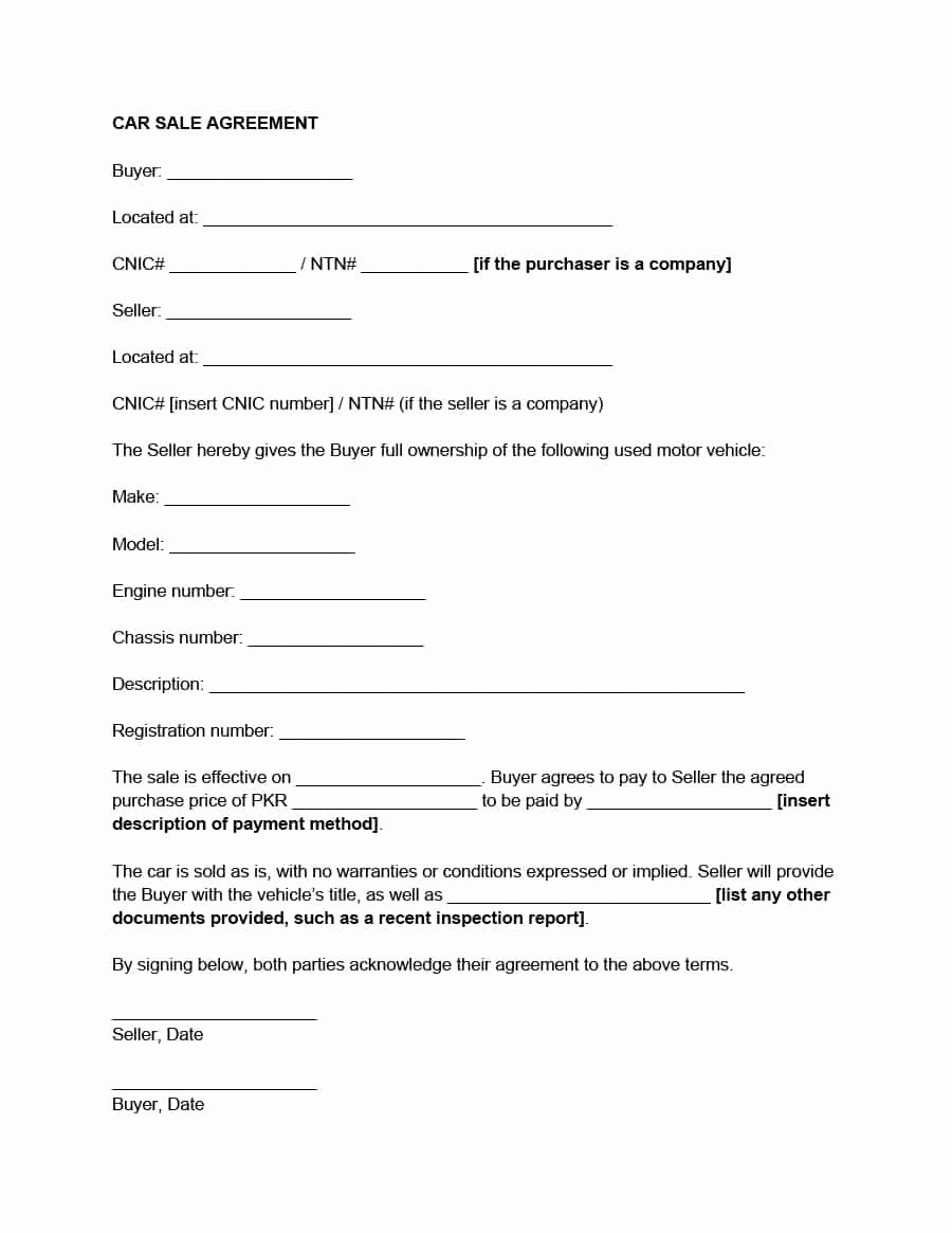 Car Sale Contract Template Fresh 42 Printable Vehicle Purchase Agreement Templates