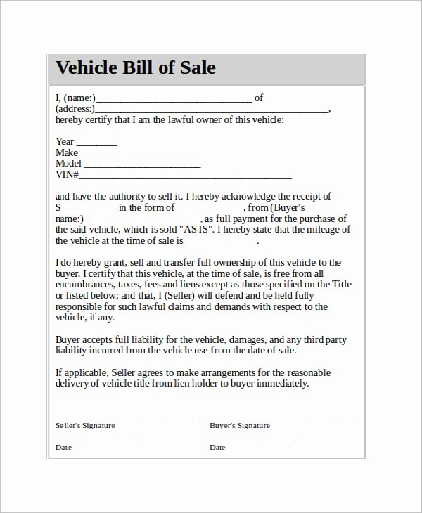 Car Sale Contract Template Fresh Bill Sale Payment Agreement