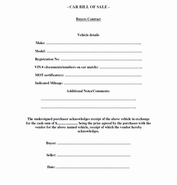 Car Sale Contract Template Fresh Download Car Sales Contract Template