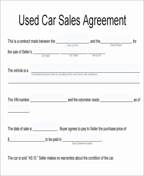 Car Sale Contract Template Inspirational 11 Vehicle Sales Agreement Samples Free Word Pdf