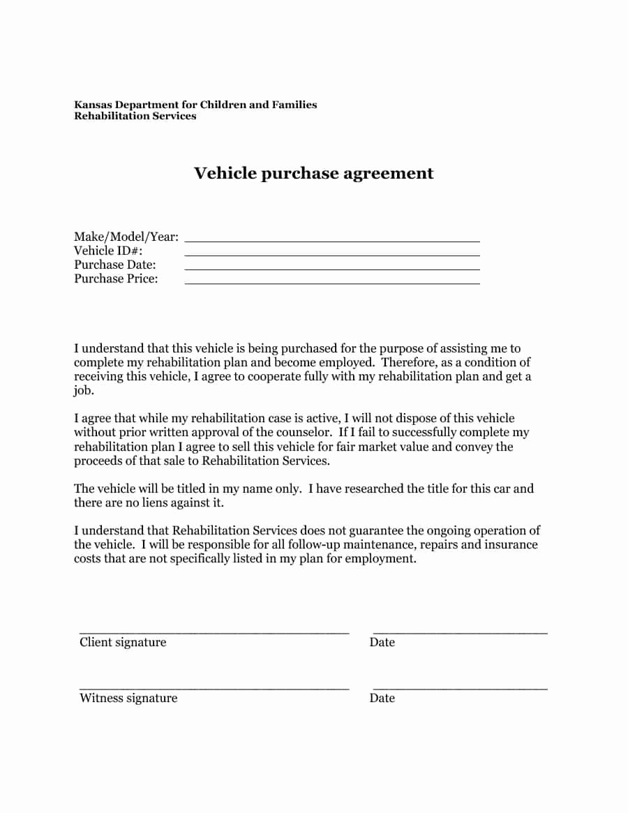 Car Sale Contract Template Luxury 42 Printable Vehicle Purchase Agreement Templates