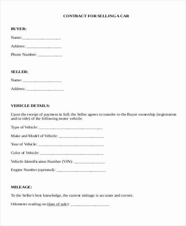 Car Sale Contract Template Luxury Sample Used Car Sale Contract 5 Examples In Word Pdf