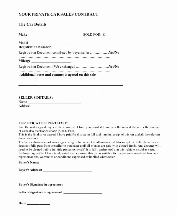 Car Sale Contract Template New Sample Car Sale Contract forms 8 Free Documents In Pdf Doc