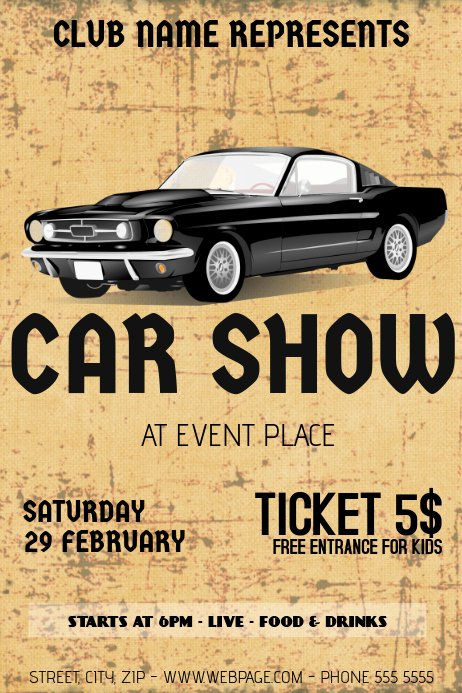 Car Show Flyer Template Free Fresh Old Retro Vintage Car Show Flyer Template