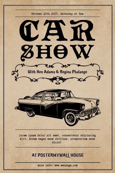 Car Show Flyer Template Free Luxury Vintage Car Show Flyer Template