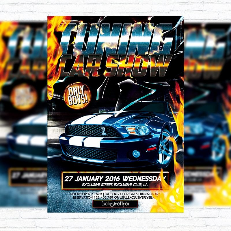 Car Show Flyer Template Free Unique Tuning Car Show – Premium Flyer Template Cover