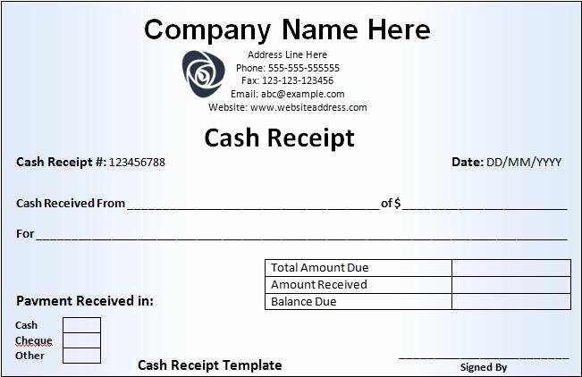Cash Payment Receipt Template Beautiful Cash Receipt Template