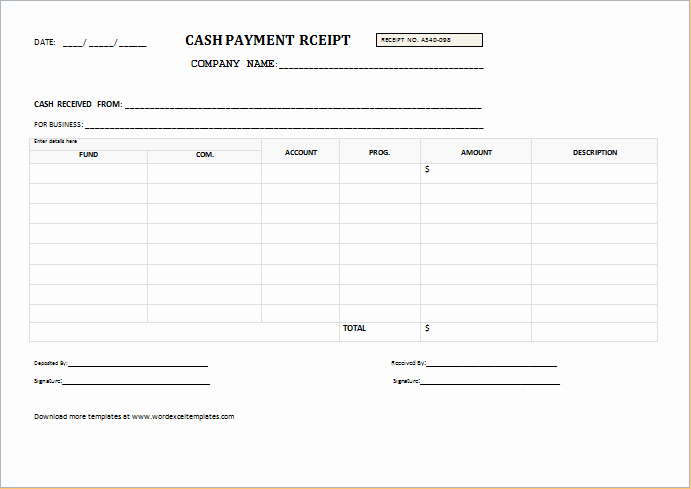 Cash Payment Receipt Template Fresh Cash Payment Receipt Templates for Word