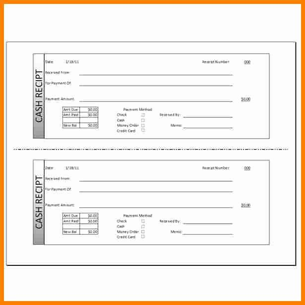 Cash Receipt Template Word Fresh 7 Cash Bill Template Excel