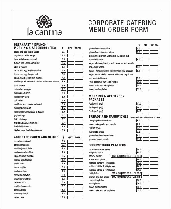 Catering order form Template Awesome 16 Catering order forms Ms Word Numbers Pages