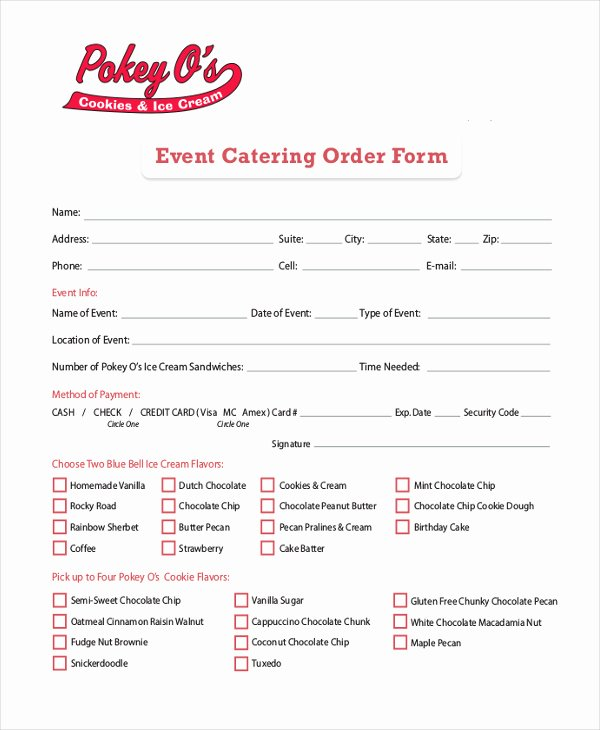Catering order form Template Awesome Catering order form – Emmamcintyrephotography