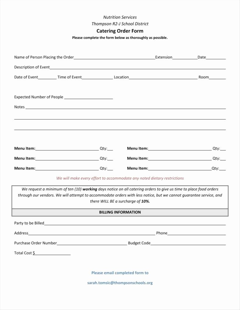 Catering order form Template Best Of 10 Catering order form Templates Ms Word Numbers