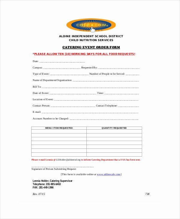 Catering order form Template Best Of Sample event order form 8 Examples In Word Pdf