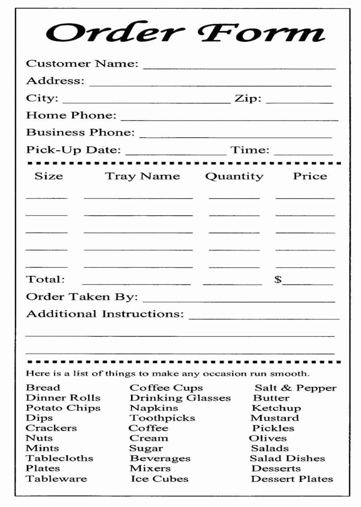 Catering order form Template Fresh 14 Best Restaurant order form Template Images On Pinterest