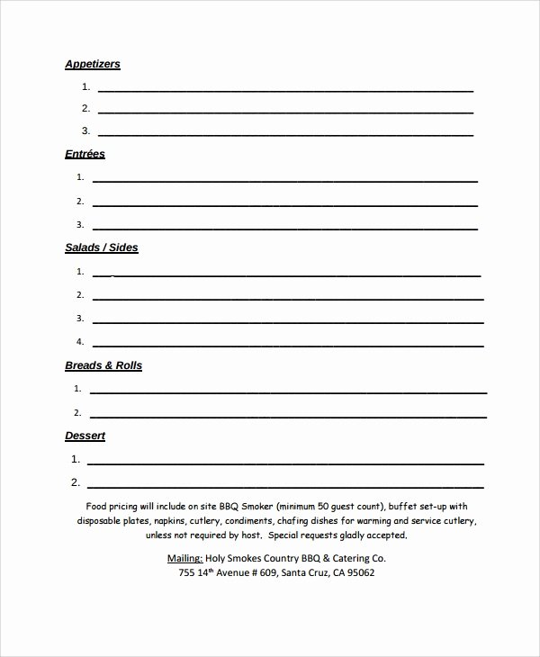 Catering order form Template Inspirational Sample Catering Quote 8 Documents In Pdf Word