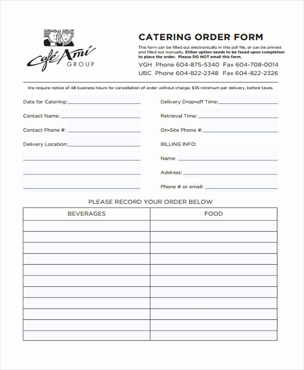 Catering order form Template New 8 Catering order form Free Sample Example format Download