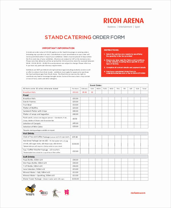 Catering order form Template Unique Sample Catering order form 11 Examples In Word Pdf
