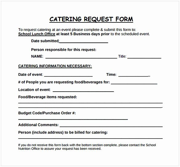 Catering order form Template Word Awesome Catering Proposal