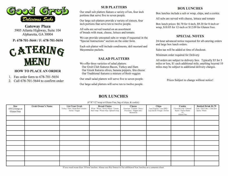 Catering order form Template Word Beautiful Catering Pany In Alpharetta