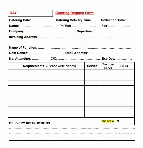 Catering order form Template Word Best Of Catering Invoice Sample 17 Documents In Pdf Word