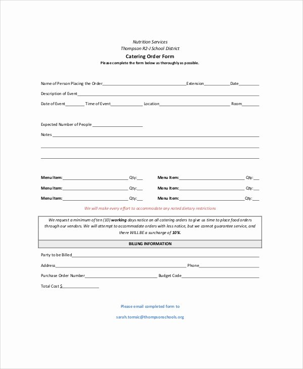 Catering order form Template Word Elegant Sample Catering order form 11 Examples In Word Pdf
