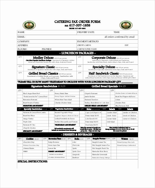 Catering order form Template Word Inspirational Sample Catering order form 11 Examples In Word Pdf