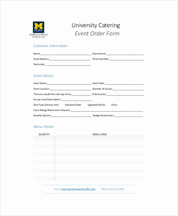 Catering order form Template Word Lovely Sample Catering order form 11 Examples In Word Pdf