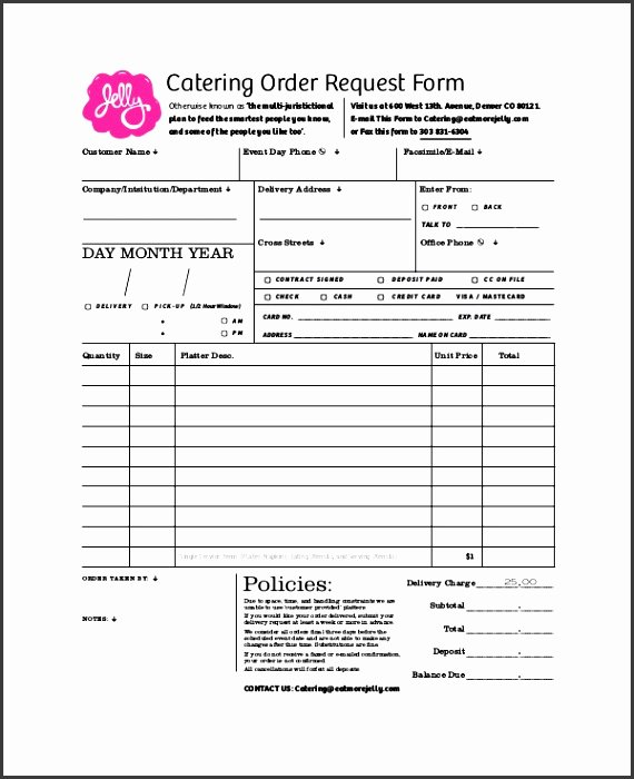 Catering order form Template Word Unique 8 Customer order form Template Sampletemplatess