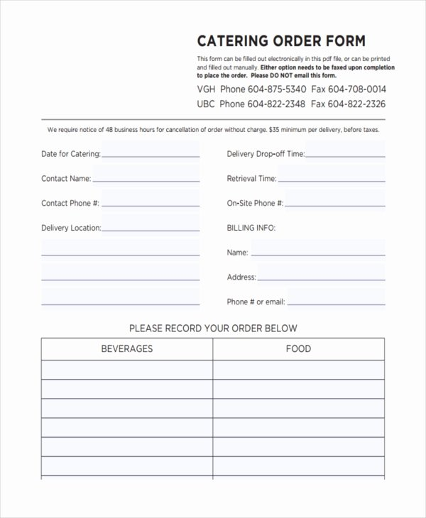 Catering order forms Template Elegant 36 Free order forms