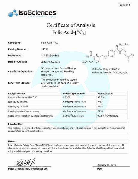 Certificate Of Analysis Template Beautiful Certification Of Analysis isosciences