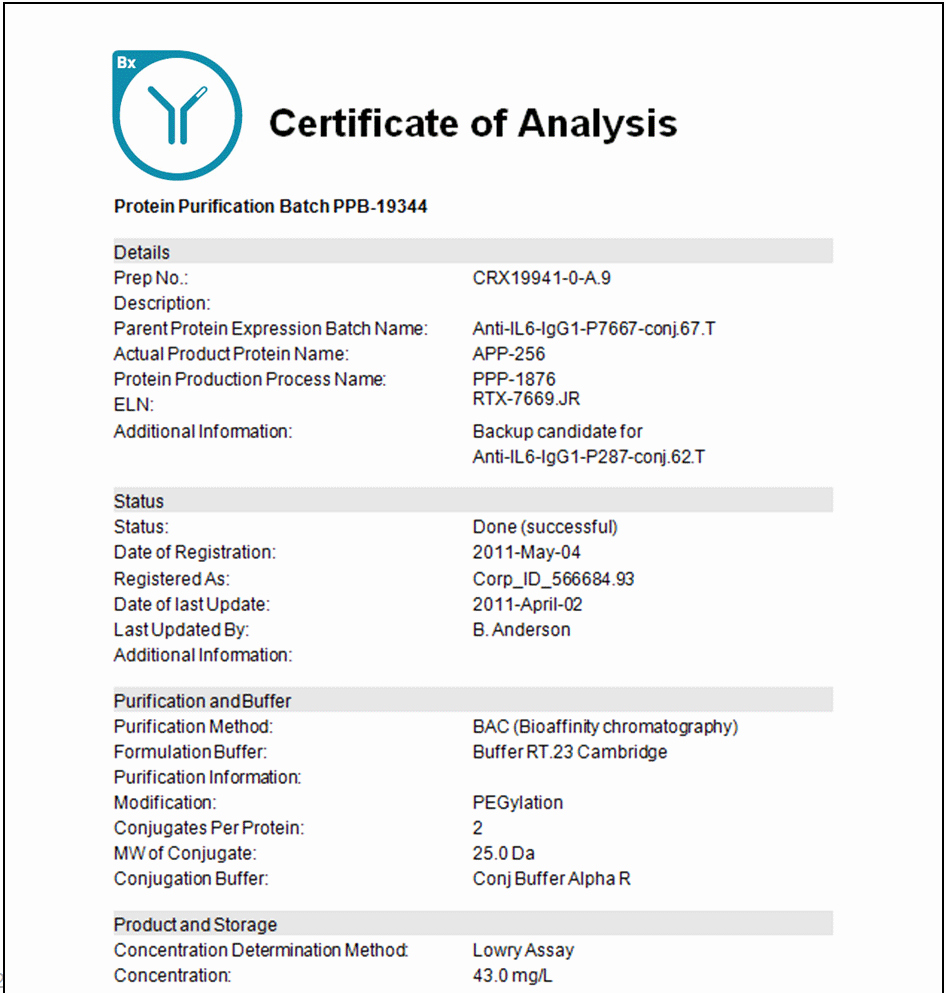 Certificate Of Analysis Template Beautiful software for Biologics Cell Line Development Expression