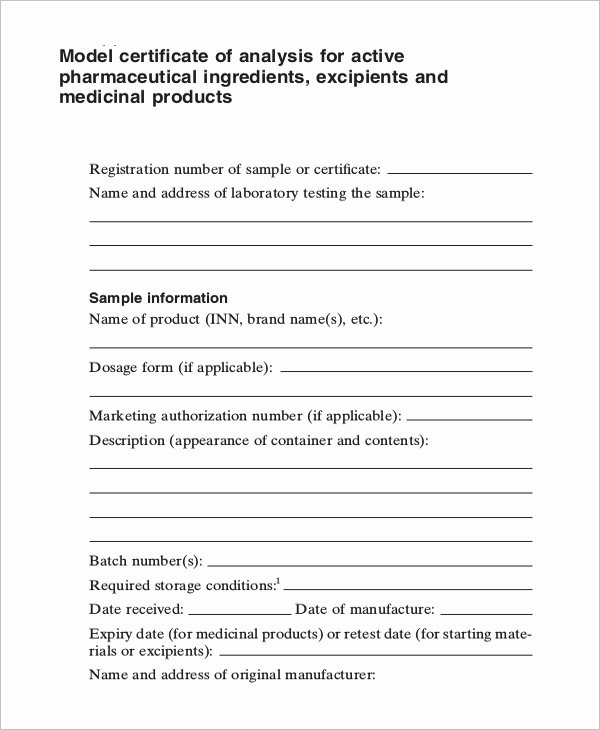 Certificate Of Analysis Template Best Of 7 Certificate Of Analysis Template Word Google Docs