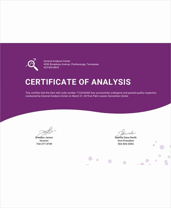 Certificate Of Analysis Template Best Of Certificate Template 45 Free Printable Word Excel Pdf