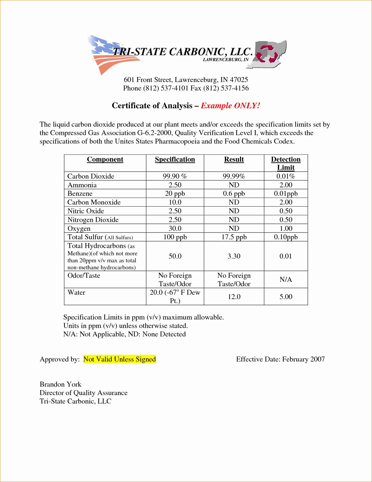 Certificate Of Analysis Template Elegant 5 Certificate Of Analysis Template