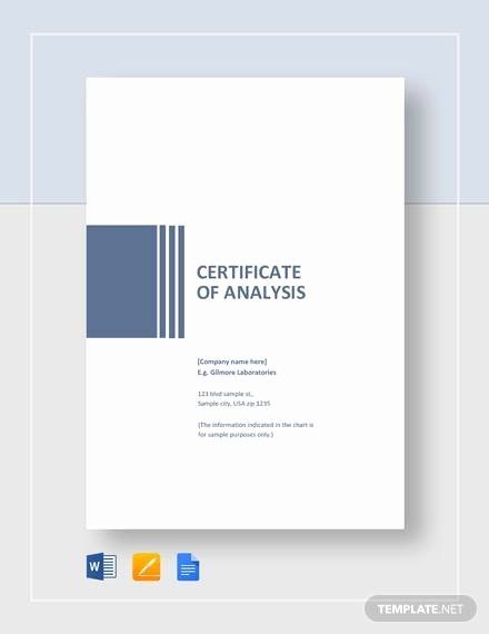 Certificate Of Analysis Template Elegant Free 11 Sample Certificate Of Analysis Templates In